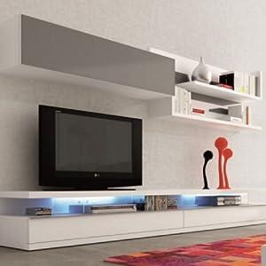 Meuble tv mural blanc et gris luvenia cuisine for Meuble mural amazon