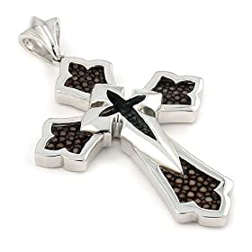 Amazon.com: Sterling silver brown stingray leather cross pendant specially for you! lusterforever: Jewelry from amazon.com