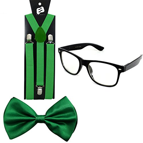 Enimay Suspender Bowtie Wayfarer Clear Glasses Nerd Costume Halloween Green