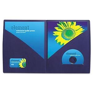GBC Designer 2-Pocket Folder, 60 Sheet Capacity, Navy, 5 Folders per Pack (W55517C)