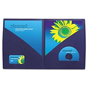 GBC Designer 2-Pocket Folder, 60 Sheet Capacity, Navy, 5 Folders per Pack (W55517C)