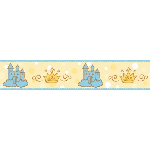 Imperial Disney Home DF059312B Princess Castle and Tiara Border, Yellow, 4.25-Inch Wide