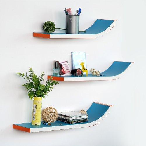 Trista - [Mediterranean] Stylish J Type Leather Wall Shelf / Bookshelf / Floating Shelf (Set Of 3) front-755446