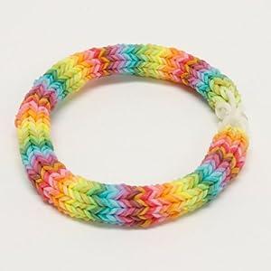 """7"""" Rainbow Hexafish Rainbow Loom Bracelet"""