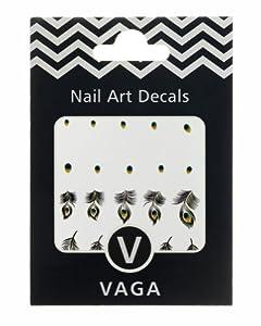 Décorations Stickers Plumes De Paon Nail Art Design Decals Couleur Neutre par VAGA®