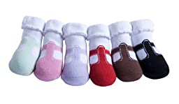 JazzyToes T Strap Mary Janes Socks, Assorted, 12 24 Months