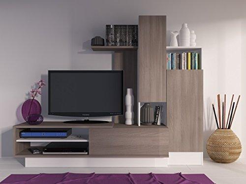 Mueble televisión para salón color café/blanco. 200X40x162,5 cm.
