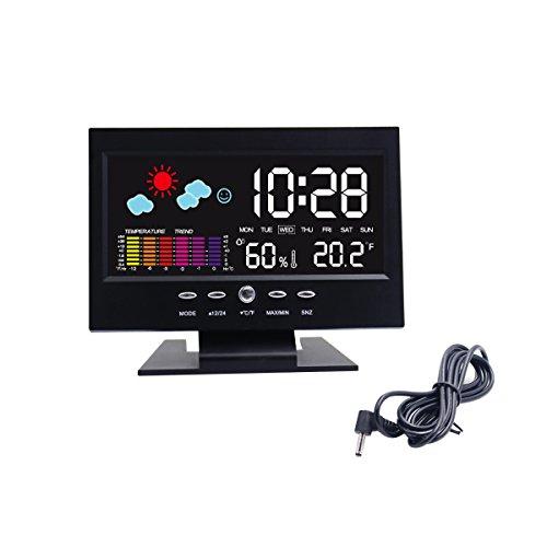 Hippih Elettronica Tabella Orologio digitale Snooze LCD Alarm Clock Comodino Orologio da tavolo con Stazione Meteo LCD retroilluminato a colori Icon coperto temperatura umidità Giorno Data Ora display (nero)