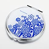 HOLI® Chinoiserie Porcelain Flower Round Mirror Cosmetic Mirror Compact Mirror, Gift Idea, Gift Box Includedby HOLI