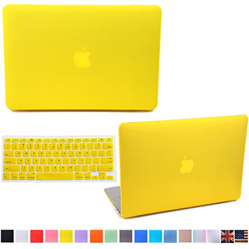 """HDE Matte Hard Shell Clip Snap-on Case + Matching Keyboard Skin for MacBook Air 13"""" - Fits Model A1369 / A1466 (Yellow)"""