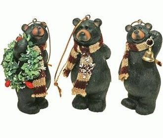 #!Cheap Holiday Bear with Scarf Ornaments (3-pc Set) 3.5-inch