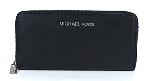 Michael Kors Bedford Zip Around Continental Leather Black Wallet