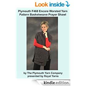 Plymouth F468 Encore Worsted Yarn Pattern Basketweave Prayer Shawl (I Want To Knit)