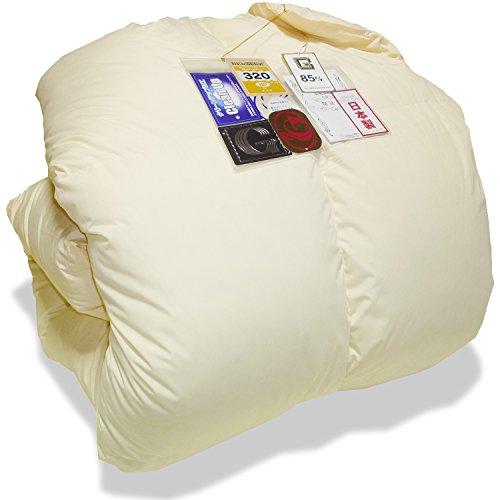 国産 羽毛布団 シングルサイズ 150×210 ホワイトダウン1.1kg ダウンパワー320dp以上/かさ高135mm以上 ニューゴールド 製品保証書付