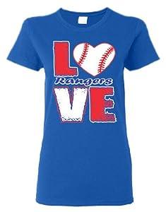 Buy Love Rangers Baseball Screen Printed Ladies T Shirt by GenesisInk