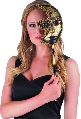"""Venezianische Maske """"Mystery"""" mit Stab 51 cm"""