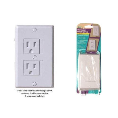 Kidco Universal Outlet Covers in White - TWELVE (12) Pack - Works with Standard Single or Decora Double Screw Outlets plus BONUS (2) Outlet Plugs! - 1