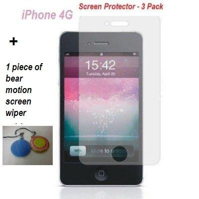 3 Pack Iphone 4g Screen Protector for Iphone 4g with Lint Cleaning Cloth and 1 Piece of Bear Motion Screen Wiper Key Chain(Colors May Vary)