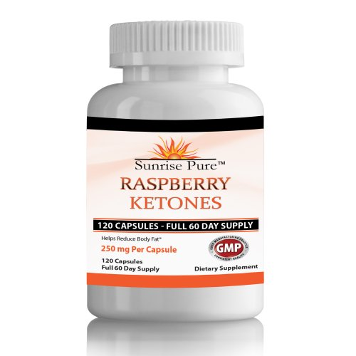 Raspberry Ketones Pure | 120, 250Mg Capsules | Full 60-Day Supply | Recommended For Weight Loss Pills | Great Reviews | Sunrise Pure Money Back Guarantee
