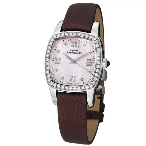 JeanRichard TV Screen Lady Maroon Satin Leather Strap Diamond Watch 95006-D1-...