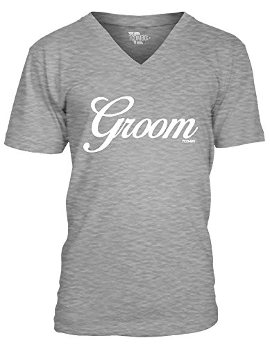 Groom Men's V-neck T-Shirt Tee (XL, LIGHT GRAY)