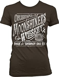 Original Moonshiners Whiskey Ladies Junior Fit T-shirt, Foolin' The Government Since 1776 Moonshine Design Junior's Tee