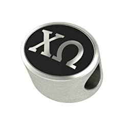 Chi Omega Black Antique Oval Sorority Bead Charm Fits Most Pandora Style Bracelets. High Quality Bead in Stock for Fast Shipping