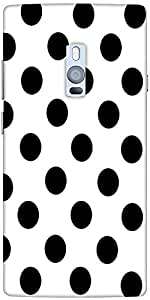 Snoogg White Polka Dot Hard Back Case Cover Shield For Oneplus Two