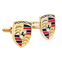 Golden Porsche Logo Automotive Car Cufflinks by Fantasyard