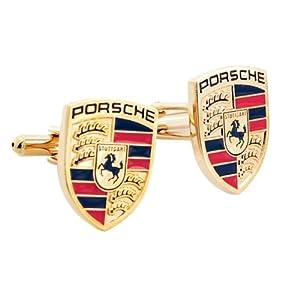 Golden Porsche Logo Automotive Car Cufflinks by Fantasyard