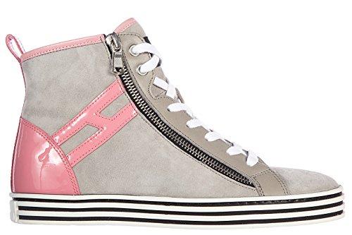 Hogan scarpe sneakers alte donna in camoscio nuove r182 rebel vintage grigio EU 36 HXW1820Q9808KH225M