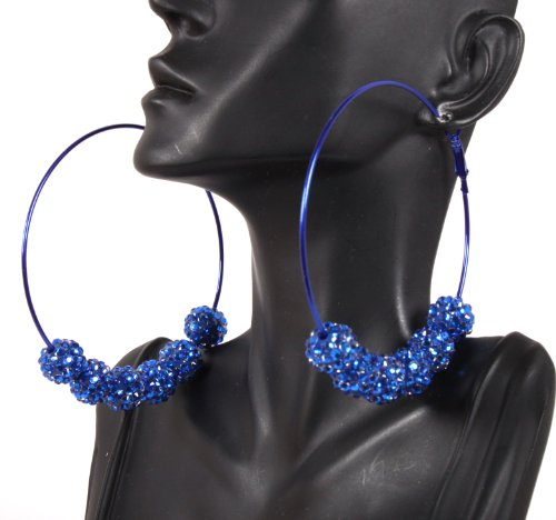 Basketball Wives Blue 3 Inch Hoop Earrings with Six 12mm Matching Shamballah Balls Paparazzi Mob Wives