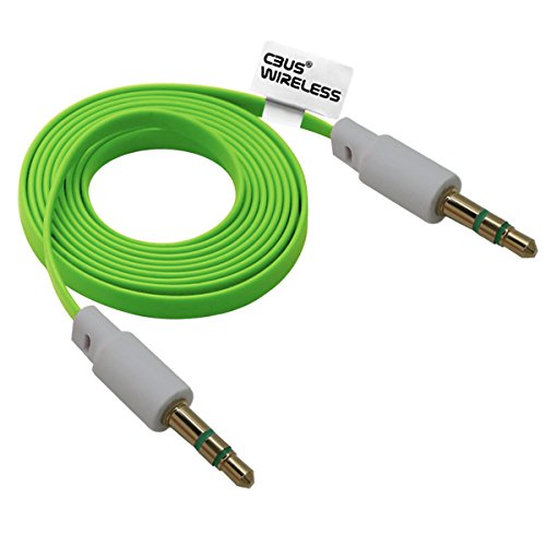 cbus-wireless-green-flat-noodle-shape-33ft-35mm-male-to-male-stereo-audio-auxiliary-aux-cable-for-pc