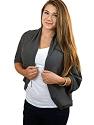 Chicastic Women's Loose Fit Lightweight Shrug Style Casual Cardigan Dark Grey