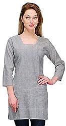 Gazi Women's Khadi Cotton Regular Fit Kurti (GF201517_36, Grey, 36)