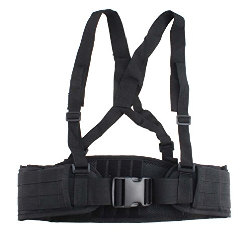FAMI Adjustable MOLLE Soft Padded Tactical Waist Belt with Suspender for Outdoor Duty - Black (Tactical Padded Belt compare prices)