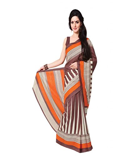 Inddus Exclusive Women Art Silk Coffee Printed Saree - B00NMDXO3M