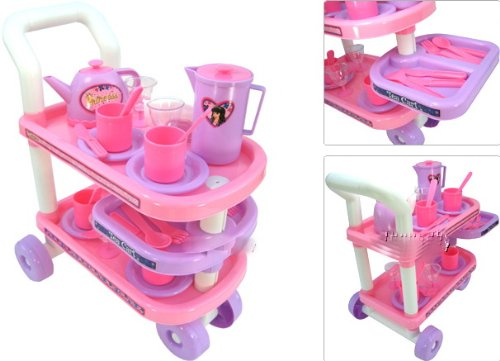 NEW 29pc Kids Childs Tea Cart Deluxe Set Pretend Toy