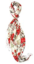 Vibrant Red Floral Fashion Scarf