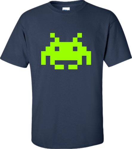 X-Large Navy Blue Adult Space Invaders Retro Gaming T-Shirt