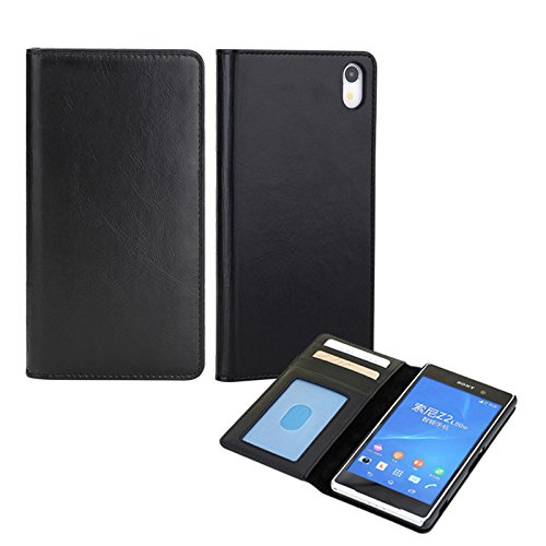 Moon Monkey Business Luxury Top Layer Cowhide Genuine Leather Protective Case With Built-In Three Card Slots For Sony Xperia Z2 (Mm409) (Black)