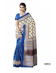 Awesome Off White & Blue Bhagalpuri Printed Art Silk Designer Saree
