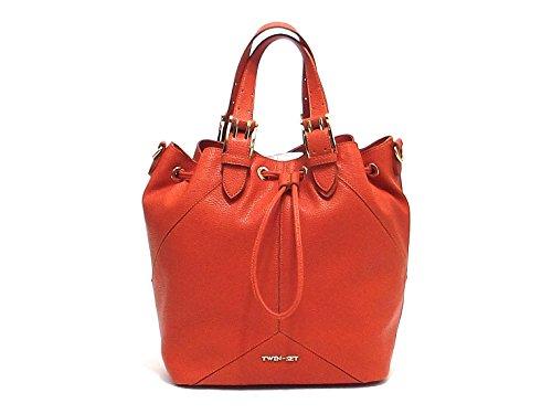 Twin Set borsa donna, linea Secchiello Cuore AS67QB, borsa a spalla in ecopelle, colore arancio
