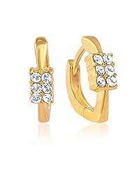 Mahi Eita Collection White Gold Plated Crystal Stones Hoop Earrings For Women-ER1100224G