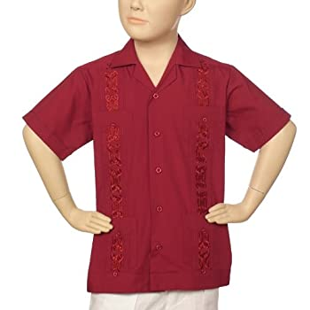 Boys embroidered poly-cotton guayabera in burgundy.