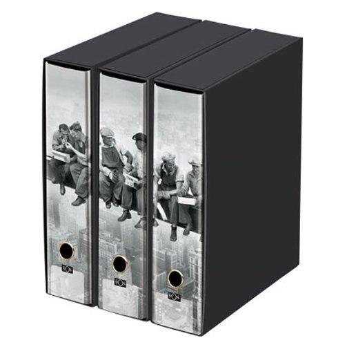 """KAOS - Set da 3 raccoglitori ad anelli dorso 8 - OPERAI 1 """"Lunch atop a skyscraper"""" - Misure Set: 26.8x35x29 cm"""