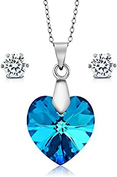 Gem Stone King Collection Bermuda Blue Heart Pendant