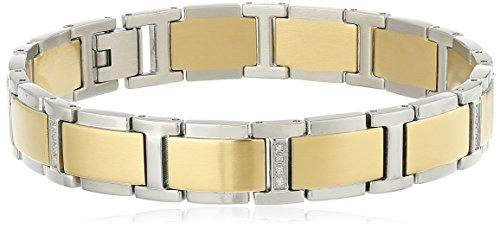 Men's Two-Tone Gold Stainless Steel Diamond Bracelet (0.15 cttw, H-I Color, I2-I3 Clarity), 8.5″