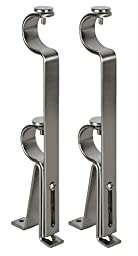 Urbanest Adjustable Double Curtain Rod Bracket, up to 1 1/8-inch Diameter Rods, 2 pieces, Brushed Steel