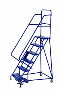 Louisville Ladder GSW2407 Rolling Warehouse Ladder with 24-Inch Step Width and Handrails, 70-Inch Platform Height, 7-Step